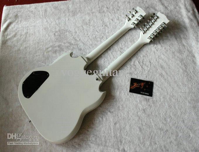 新しい到着したダブルネック1275ホワイトエレキギター6ストリングと12文字列{トップセラー}