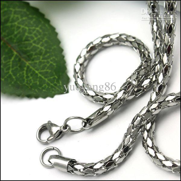 FINE 316L 스테인레스 스틸 소년 소년의 4mm 다이아몬드 모양 체인 목걸이