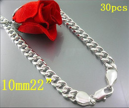 Wholesale China Wholesale Jewelry Fast Shipping - Wholesale 925 Silver Fashion Men's jewelry 10mm curb chain necklace 22inch fast shipping