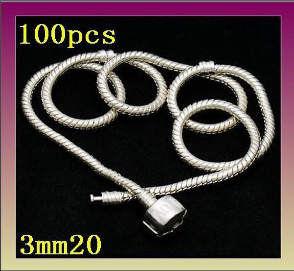 Partihandel-Hot 925 Silver 3mm European Bead Charm Chain Halsband 20inch Helt ny, /