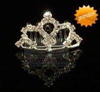 Wholesale Childrens Tiaras - Rhinestone childrens tiara crystal toddlers hair jewelry kids mini tiara 60pcs lot assorted styles