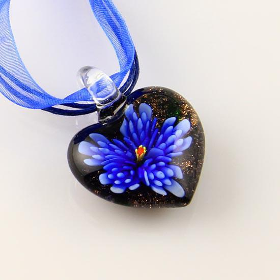 Splendid Italian venetian lampwork blown heart flower murano glass pendants for necklaces jewelry cheap china fashion jewelry