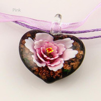 Wholesale Cheap Murano Glass Jewelry - heart flower inside murano lampwork Italian venetian glass fashion necklaces pendants cheap china fashion jewelry