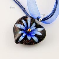 Wholesale Blown Flower Glass Pendant Necklace - murano pendantItalian venetian heart flower inside blown pendants for necklaces jewelry fashion jewelry in bulk Mup006