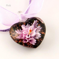 Wholesale Cheap Murano Glass Jewelry - Heart love flower inside murano lampwork Italian glass necklaces with pendants jewelry cheap china fashion jewelry