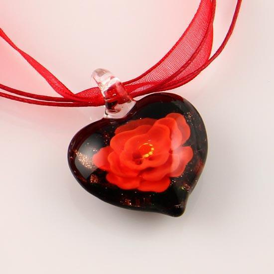Heart love flower inside murano lampwork italian venetian handmade fashion jewelry glass necklaces with pendants hand blown art glass Mup006