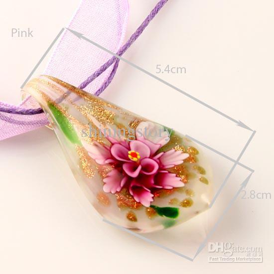 Lampwork classique murano verre paillettes à la main feuille fleur à l'intérieur des pendentifs italiens vénitiens pour colliers pendentifs de mode colliers Mup027