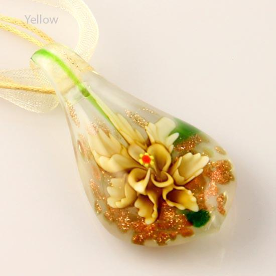 Classic Lampwork murano glass glitter handmade leaf flower inside Italian venetian pendants for necklaces fashion pendants necklaces Mup027