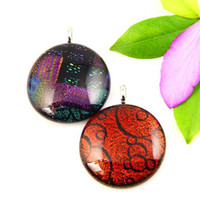 Wholesale Dichroic Glass Plate - fancy color dichroic glass foil round art murano glass pendants for necklaces Fashion jewelry in bulk Mup045