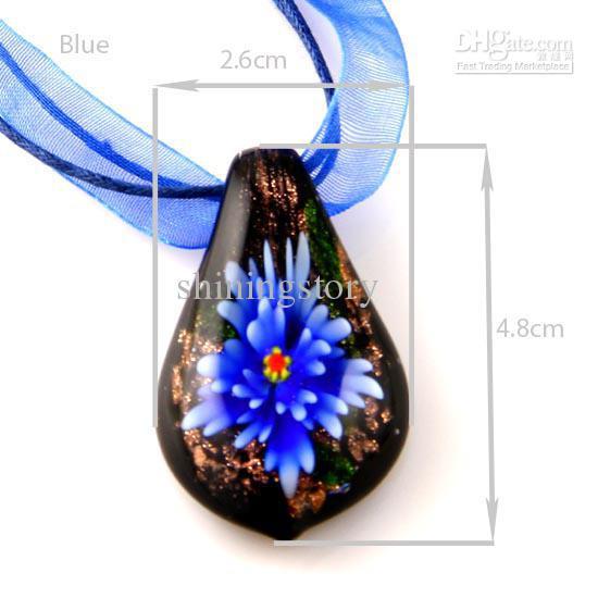 Листик цветка внутри итальянский венецианский блеск лэмпворк выдувные муранского стекла подвески для ожерелий ювелирные изделия высокой моды Mup025