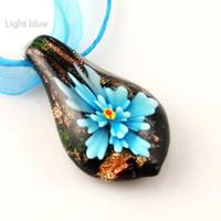 Wholesale wholesale blown glass pendants - leaf flower inside Italian venetian glitter lampwork blown murano glass pendants for necklaces high fashion jewelry Mup025