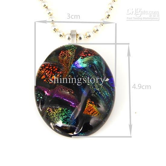 Fancy dichroic foil murano glass oval art fused pendants for necklaces jewelry jewellery handmade cheap China fashion jewellery Mup034