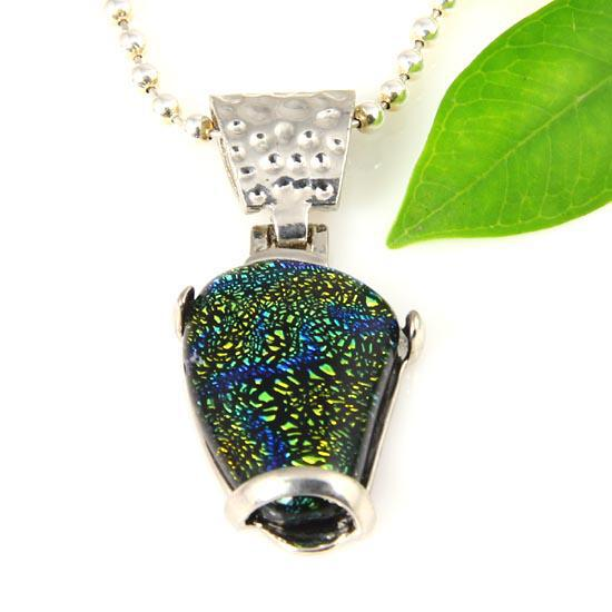 Latest art murano glass teardrop fused dichroic foil pendants for necklaces jewelry jewellery