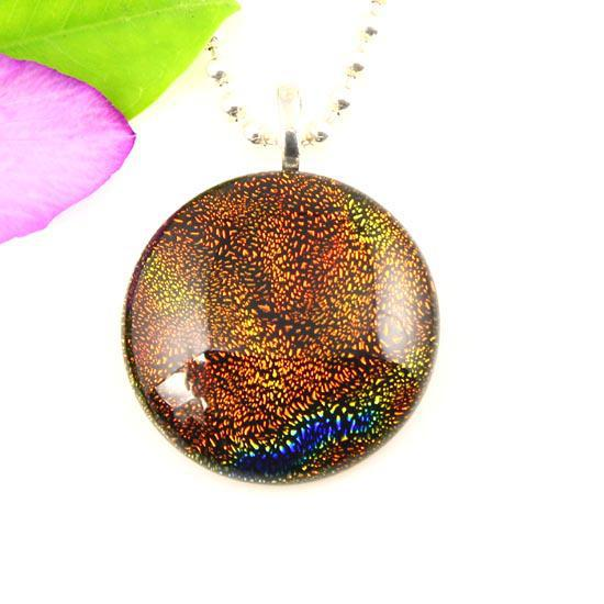 Best seller dichroic foil murano glass pendants for necklaces round art fused jewelry jewellery handmade fashion jewelry Mup046