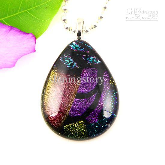 Big water drop teardrop handmade art dichroic foil murano glass pendants for necklaces cheap china fashion jewelry Mup048