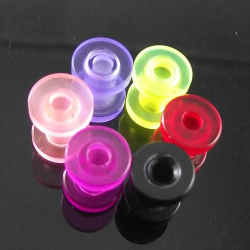 48 pçs / lote frete grátis plugue de ouvido Acrílico Flat Flare Parafuso Fit Plugues de Ouvido body jewelry cores misturadas
