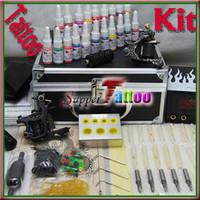 Wholesale Tattoo Machine Carrying Case - Tattoo Kit 2 Machine Guns Power Supply Ink Needle Metal Carrying Case Starter Tattoo Use