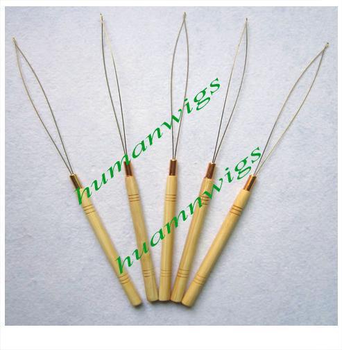깃털 머리 익스텐션 와이어 스레딩 / 마이크로 링 헤어 익스텐션 도구 / 대나무 / 나무 손잡이,