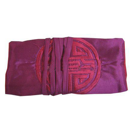 Plain Embroidery Happy Silk Jewelry Bag Roll Up Travel Bag Makeup Cosmetic Storage Bag for Women Drawstring Pouch 11x7 inch