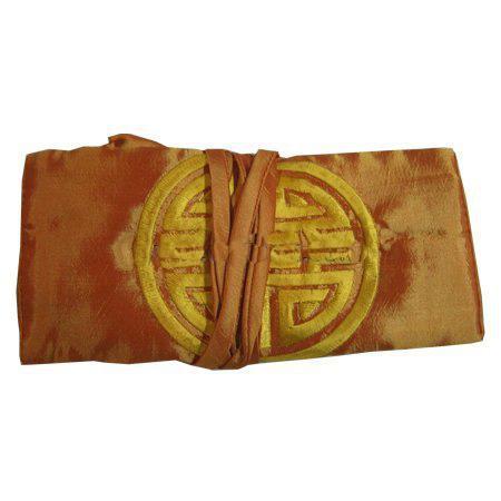 刺繍の楽しい化粧品ジュエリー旅行ロールバッグプレーン折りたたみ中国のスタイル大型化粧収納袋巾着ポーチ/ロット