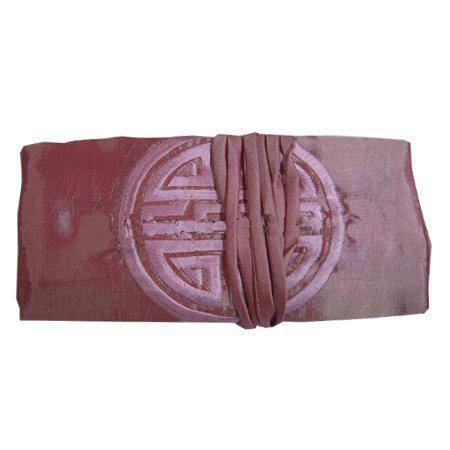 Effen borduurwerk Happy Silk Sieraden Tas Roll Up Travel Bag Make Cosmetische Opbergtas voor Dames Trekkoord Pouch 11x7 Inch 10 stks / partij