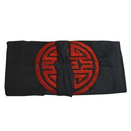 Китайская вышивка счастливый шелк путешествия ювелирные изделия ролл сумка макияж сумка для хранения шнурок большие женщины косметический мешок 3 молнии мешок