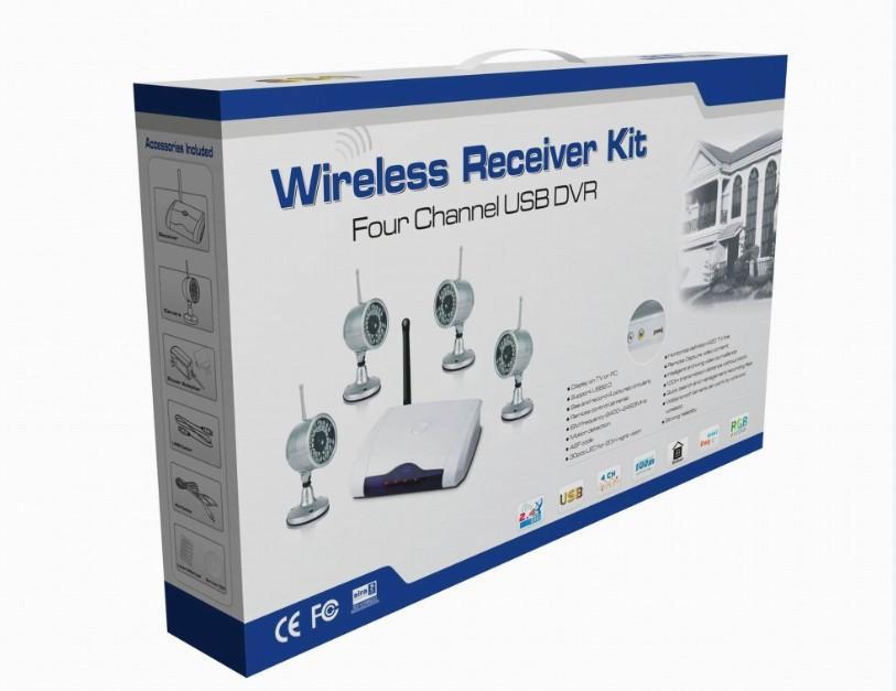PC kamera tabanlı 4 kameralı kablosuz kiti DVR alıcısı ve 4 gece görüşü su geçirmez W802Z4