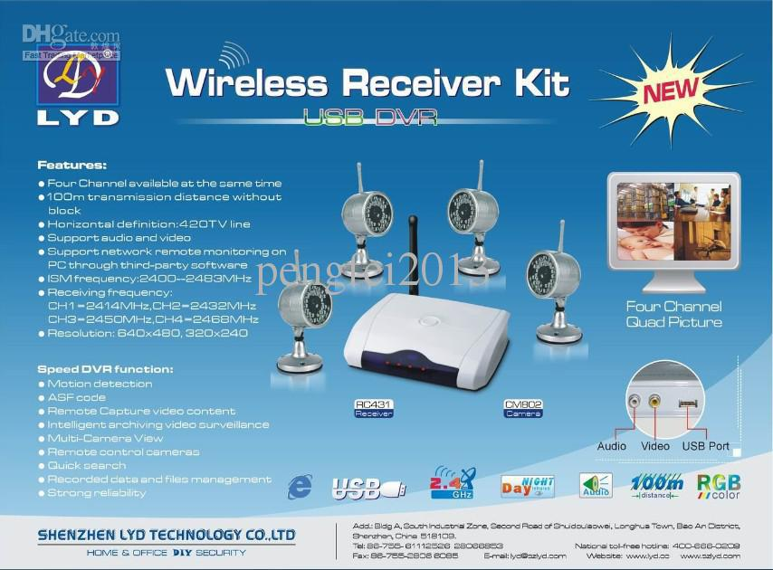 Kit sans fil 4 caméras avec récepteur DVR basé sur ordinateur et 4 caméras W802Z4 à vision nocturne imperméables