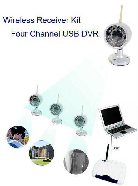 Kit inalámbrico de 4 cámaras con receptor DVR basado en computadora y PC con visión nocturna W802Z4 a prueba de agua