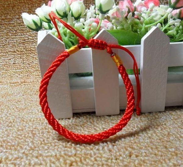 Kinesisk stil mode handgjord röd sticka fläta armband spänd lås röd färg, / parti