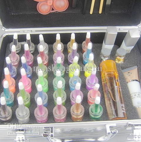 Malowanie ciała Tatuaż Zestaw Deluxe 38 Kolory Zestaw zasilający Glitter Tattoo Kit Body Art Luksusowy zestaw
