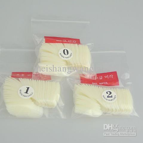 500 White Half Nail Art False Fake Nail Tips With Nail Glue 5 bags /bag