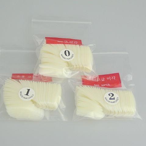 500 White Half Nail Art False Fake Paznokci Porady z Klej do paznokci 5 Torby 500 sztuk / worek