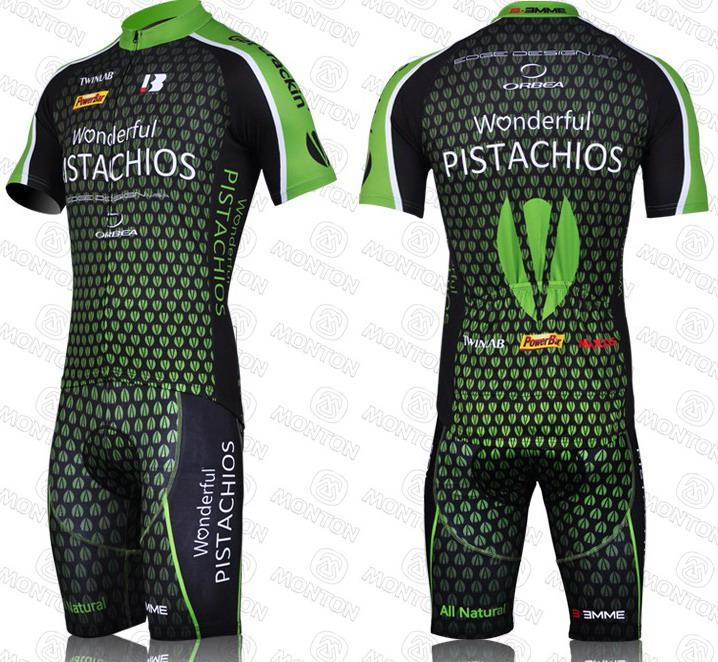 2011 Pistachios Team Groene korte mouw Cycling Jersey + Bib Short