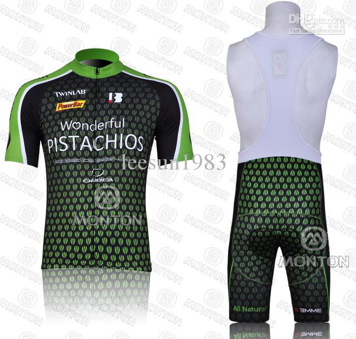 2011ピスタチオチームグリーン半袖サイクリングジャージー+ビブショート