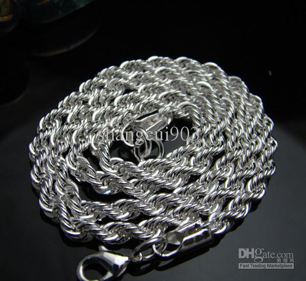 Groothandel-hot 925 zilver 3mm touw ketting 20 inch / 51cm, fit kerstcadeau
