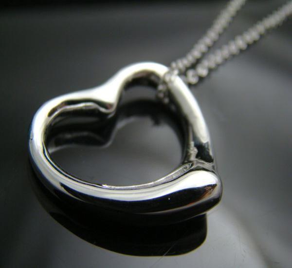 Biżuteria Moda 925 Silver Big Heart Charm Naszyjnik Fit Walentynki Najlepszy Prezent Brand New