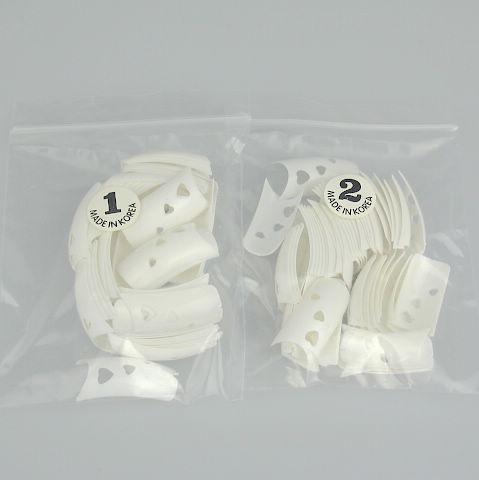 500 Witte Franse Hart Designer Nail Art False Fake Nail Tips with Nail Lijm 5bags / 500 stks / zak