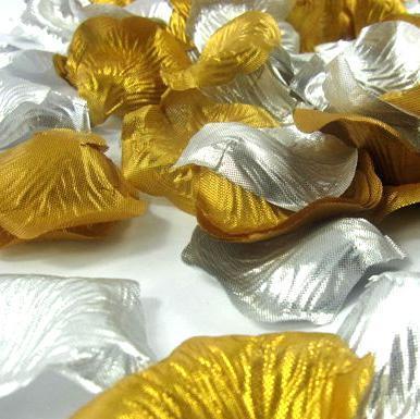 ゴールドシルバーシルクバラの花びらの花20バッグ(バッグあたり100個、/ロット)