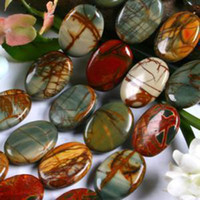 jaspe multicolore achat en gros de-13x18mm Multi-color Picasso Jasper Oval Loose Beads 15