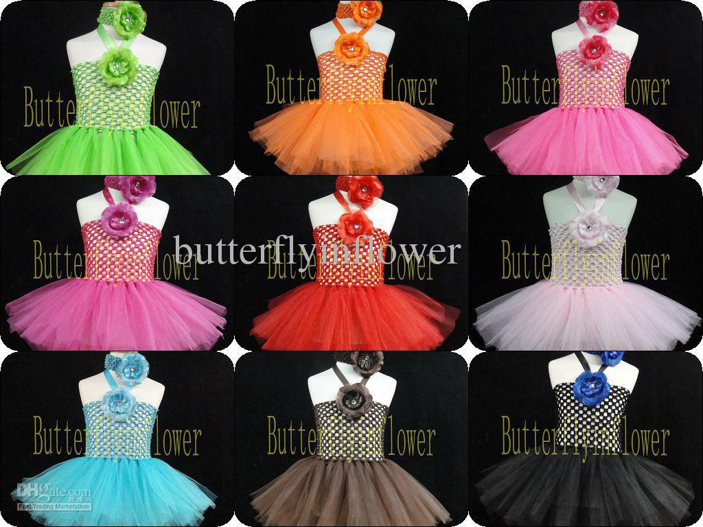 2019 Bodice Crochet Dresses 2 Layers Tutu Dresses With Headband And