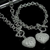 Wholesale Jewelry Sets Rhinestone 925 - hot new Free shipping 925 sterling silver fashion charm women wedding party cute heart bracelet necklace set jewelry S25