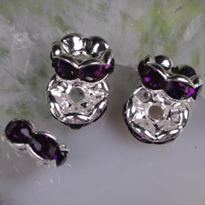8MM Purple Rhinestone Crystal Spacer Bead Findings, Wave-shaped Rondelle Spacer Beads--100PCS