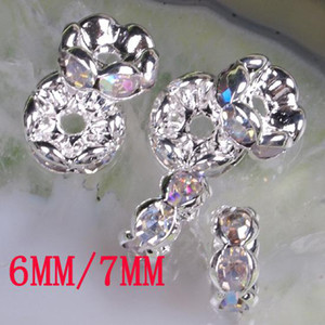 6MM   7MM Crystal AB Rhinestone Crystal Spacer Bead Findings, Wave-shaped Rondelle Spacer Beads