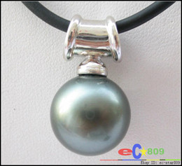 Wholesale 16mm Pearl Pendant - Chic 16mm Tahitian black round south sea shell pearl pendant