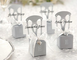 Wholesale Silver Chair Wedding Favor - 250pcs lot wedding favor DIY favour silver chair box packaging gift candy boxes ribbon heart ws003