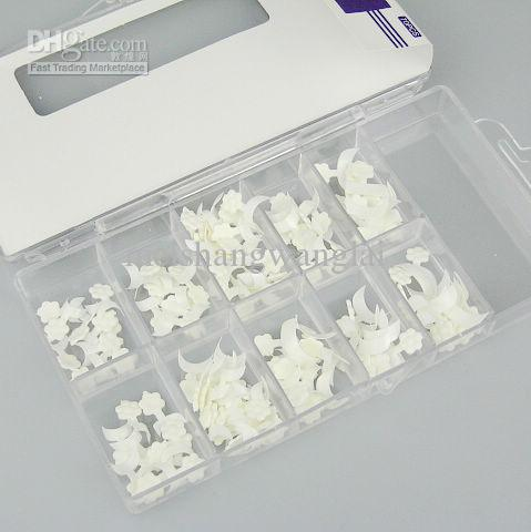 blanc côté français faux faux ongles conseils avec boîte acrylique Nail Art 5 boîtes /