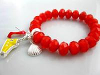 Wholesale Strands Shoes - Hot sale!20pcs 925 Silver Faced red crystal quartz beads bracelet fit shoes pendants charm bracelets