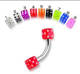 Wholesale Piercing Dices - Dice Eyebrow Piercing 316L stainless steel Mixed Color 16G 100pcs lot Body Jewelry 100% Guaranteed