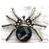 schmuck brosche spinnen großhandel-12pcs / lot Wholesale KristallRhinestone-Glasedelstein Spinnen-Broschen-Art- und WeisekostümPin-Broschenschmucksachen Geschenk C961